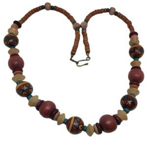 Vintage Wooden Handmade Native Ethnic Necklace